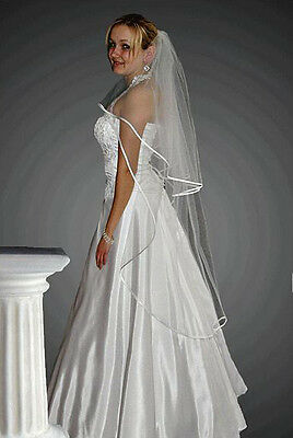 """2T White / Ivory Wedding Prom Bridal Knee Length Veil With Comb 52"""""""