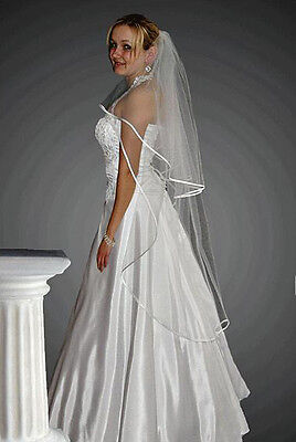 """New 2T White / Ivory Wedding Prom Bridal Knee Length Veil With Comb, Length 52"""""""