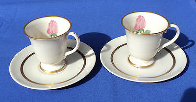 2 FRANCISCAN CHEROKEE ROSE DEMITASSE CUPS & SAUCERS Made in U.S.A.
