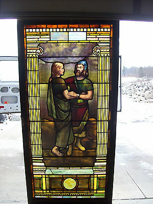 Solders rejoicing from war plated and painted stained glass window (SG 1392)