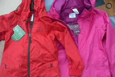 Quechua  Girls Boys Waterproof Breathable Rain Jacket  Sangria,red