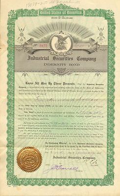 Industrial Securities Company   1918 Chicago Illinois $500 bond certificate