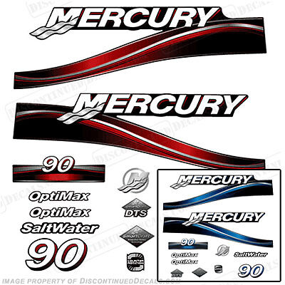 Mercury 90hp Optimax 2005 Outboard Decal Kit, 150 250 Decals Blue or Red Engine