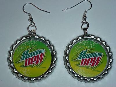 Mountain Dew Soda Custom Made Dangle Earrings Bottlecap Images