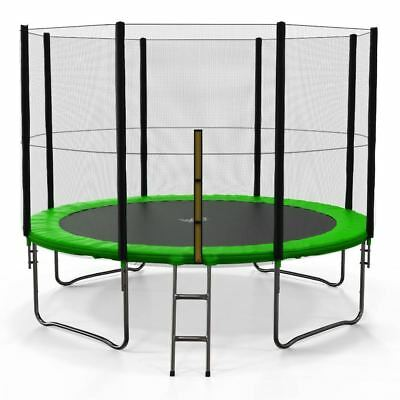 10FT Trampoline With Safety Net Enclosure Ladder Rain Cover Outdoor Activity