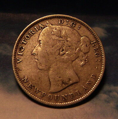 1899 Newfoundland 20 Cents Sterling Silver Coin SCARCE VICTORIAN ANTIQUE