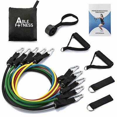 5 Exercise Resistance Bands Cords 100 Lbs Set Yoga Pilates Workout Fitness