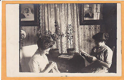 Real Photo Postcard RPPC - Interior Scene - One Woman Sewing Another Reads