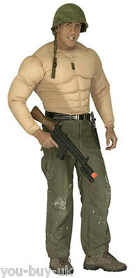 Mens Muscle Top Padded Body Suit Army Superhero Strongman Wrestler Costume