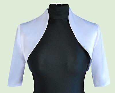 New Women White Wedding/Prom Satin Bolero Shrug Jacket  S M L XL XXL