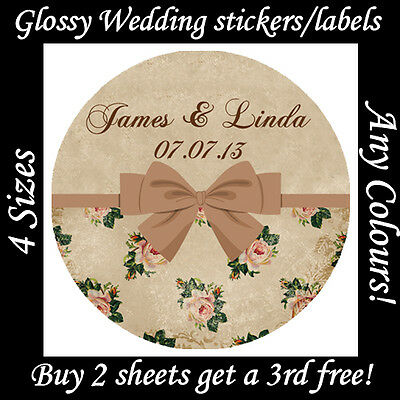Personalised VINTAGE Style WEDDING Stickers -Antique Rose Labels Seals Hen Party