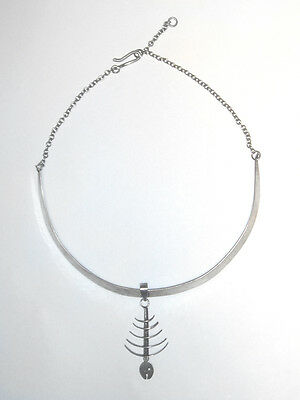 MID CENTURY MODERNIST 925 Sterling FISHBONE/Hand Hammered MEXICAN NECKLACE