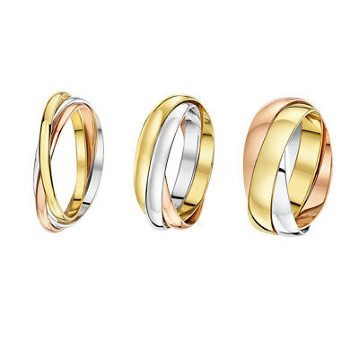 9ct Russian Wedding Ring Multi-Tone 3 Colour Gold Band Three Colour 2mm 3mm 4mm