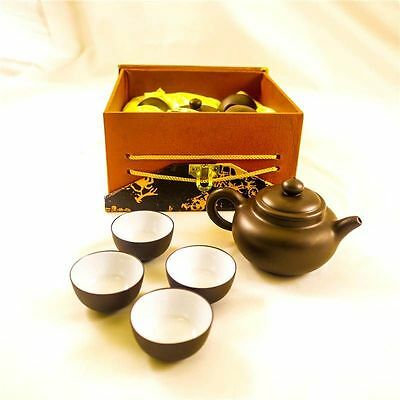 Elegant Chinese Oriental Yixing Fine Clay Tea Set With Tea Pot & 4 Cups