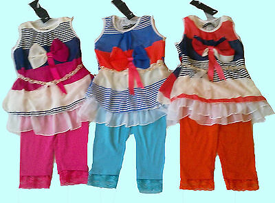 Girls Legging Suit -Printed Bow Top And Elasticated Legging (Ab-57)-Bnwt