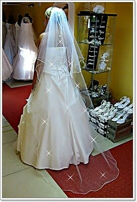 "New White Ivory Wedding Bridal 2 Tier Veil Cathedral 78""-Swarovski Crystals"
