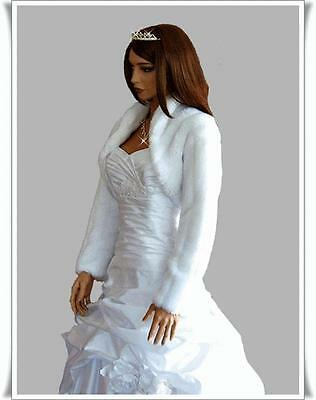 New Womens Wedding Faux Fur Shrug Bolero Bridal Jacket Coat S M L Xl Xxl