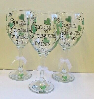 Bridesmaid Wine Or Champagne Glass Personalised Hand Painted Birthday Gift