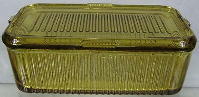 1930's Nice Vintage Federal Yellow Amber Ribbed Refrigerator Covered Jar