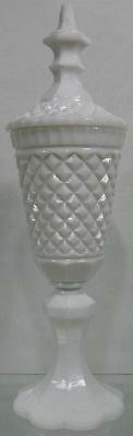 Real Nice Early 1850's Empire Vintage Milk Glass Fancy Large Footed Covered Vase