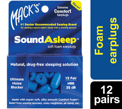 MACKS Sound Asleep Earplugs 12 Pairs Soft Foam Ear Plugs NRR32db Sleep Aid