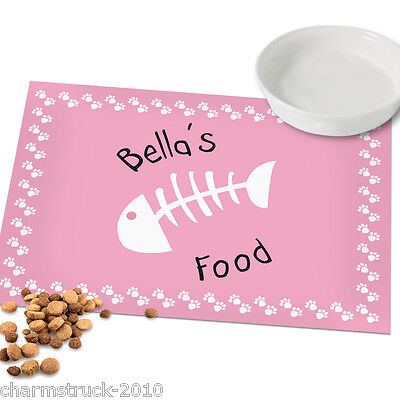 New Personalised Pink Fish Print Cat Pet Placemat Mat Add Any Name Fab Gift