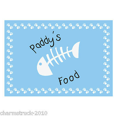 New Personalised Blue Fish Print Cat Pet Placemat Mat Add Any Name Fab Gift