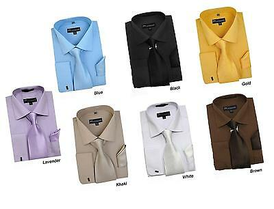 Men's Cotton Blend Solid Dress Shirt w/ Matching Tie & Hanky #27 French Cuff