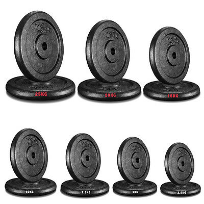 "Cast Iron Weight Plates Free Weights 1"" Disc Dumbbell Barbell Bar Weight Fitness"