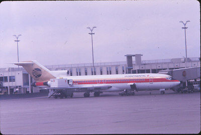 1969 Continental 727 Jet Airplane @ Terminal - Original 35mm Slide