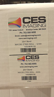 "4 Rolls 36""x150' 20lb Bond CAD Plotter Paper Inkjet  2"" core 92 Bright White"