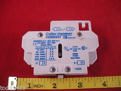 Cutler Hammer C320KGS1 Auxiliary Contact Series A2 Eaton 8a 12-48v Contactor New