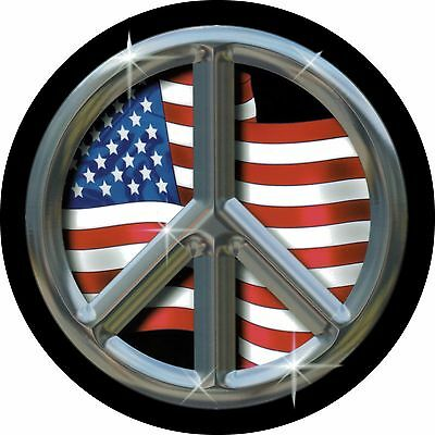 Peace Sign with American Flag USA Spare Tire Cover Jeep RV Camper etc(all sizes)