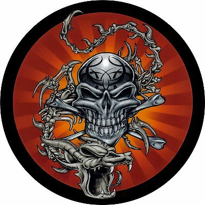 Skull #2 with dragon Spare Tire Cover Jeep RV Camper Trailer etc(all sizes avail