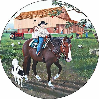 Horse #17 A Day on the farm Spare Tire Cover Jeep RV Camper Trailer(all sizes)
