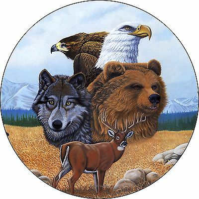 Gathering of Spirits-wolf eagle bear deer Spare Tire Cover (all sizes avail)