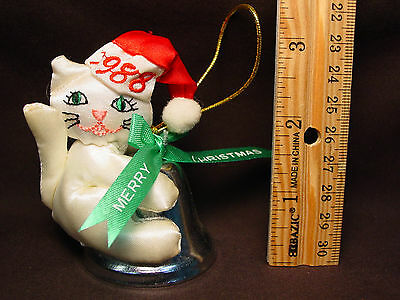 Vtg 1988 Old Stuffed Doll Xmas Ornament Cat Kitten Metal Bell Chime Santa Hat