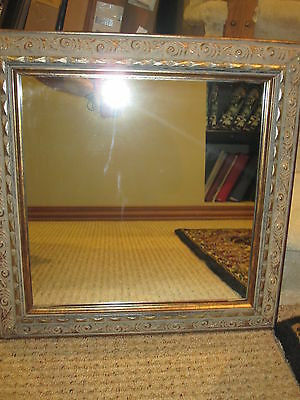 Longaberger Whimsical Framed Mirror Wall Decor Solid Wood Swirled Gold RETIRED