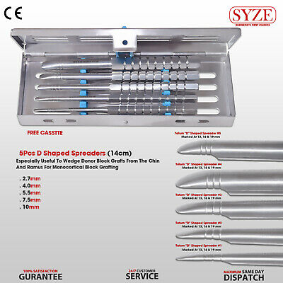 Dental Bone Spreaders D Shaped Implant Surgery Instruments 5 Pcs Kit SYZE