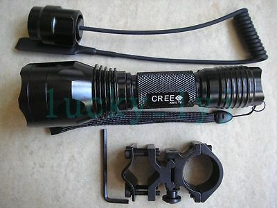 Long Throw CREE XM-L T6 1-Mode Flashlight 1300 Lm Torch for Shotgun/Rifle C10