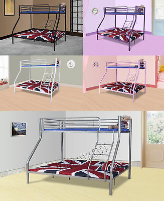 FoxHunter Bunk Bed Single Double Triple Children Metal Sleeper Frame No Mattress