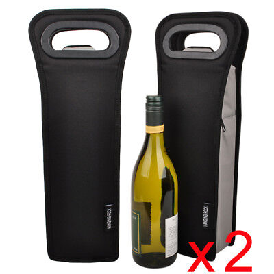 2 x 1 bottle cooler bag | Wine Gift Bag | Insulated | Bulk Pack | BYO | Black