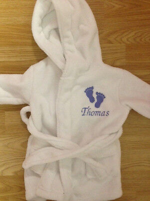 Personalised Embroidered Baby/Toddler Dressing Gown - All Sizes - Baby Gift