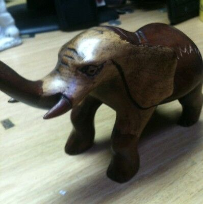 Hand Carved Wood Elephant From Jamaica