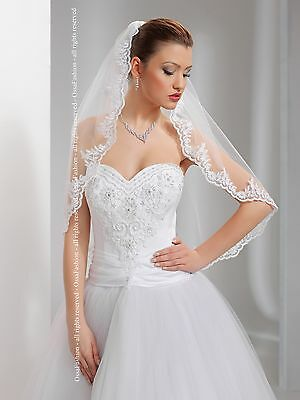 "1T White/Ivory Wedding Bridal Elbow Veil With Comb 24"" With Lace Applique Edge"