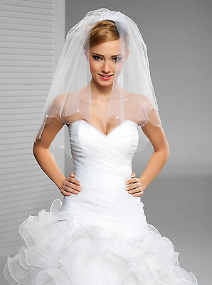 2 Tier Bridal Veil Cut Edge Elbow Length W-19