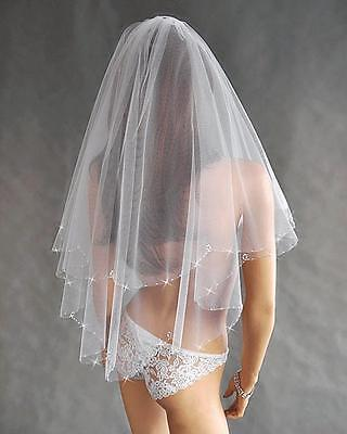Wedding Veil on Comb Elbow Length Cut Beaded Edge W-20