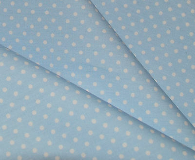 Pale Blue with White Polka Dot 100% Cotton Poplin - Select The Length Required