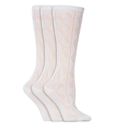 3 Pairs Girls Pelerine Knee High White School Socks all sizes