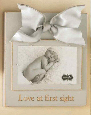 Baby Girl Boy Mud Pie ~ Love At First Sight ~ Wooden Picture Photo Frame